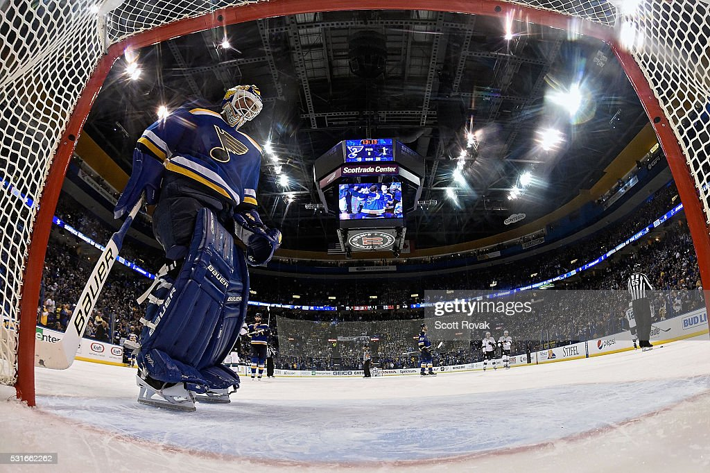 Brian Elliott #1 of the St. Louis Blues skates in front of the net in Game One of the Western Conference Final during the 2016 NHL Stanley Cup Playoffs against the San Jose Sharks at the Scottrade Center on May 15, 2016 in St. Louis, Missouri.