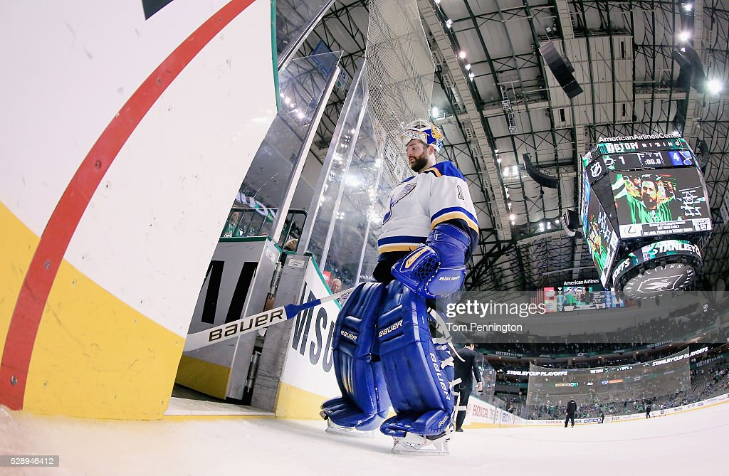 Brian Elliott #1 of the St. Louis Blues skates off the ice after the Blues beat the Dallas Stars 4-1 in Game Five of the Western Conference Second Round during the 2016 NHL Stanley Cup Playoffs at American Airlines Center on May 7, 2016 in Dallas, Texas.