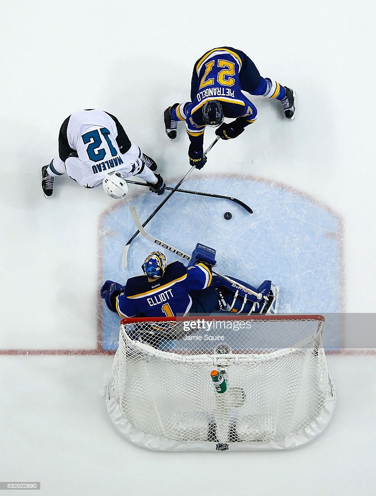 Brian Elliott #1 of the St. Louis Blues tends goal against Patrick Marleau #12 of the San Jose Sharks as Alex Pietrangelo #27 of the St. Louis Blues defends during the third period in Game Two of the Western Conference Final during the 2016 NHL Stanley Cup Playoffs at Scottrade Center on May 17, 2016 in St Louis, Missouri.