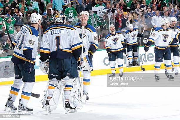 Brian Elliott Robert Bortuzzo Jay Bouwmeester of the St Louis Blues celebrate a win against the Dallas Stars at the American Airlines Center on April...