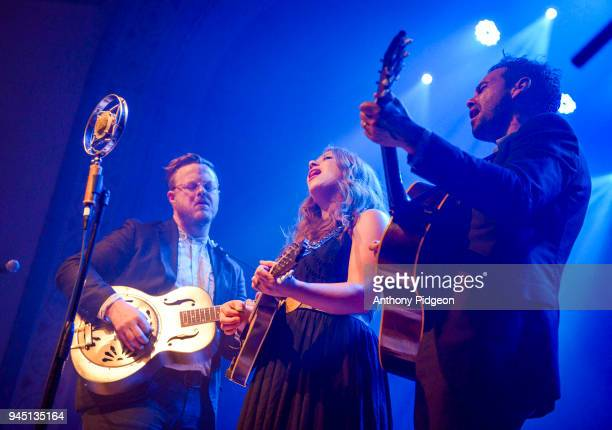 Brian Elmquist Kanene Pipkin and Zach Williams of The Lone Bellow performs on stage at the Aladdin Theater in Portland Oregon United States on 8th...