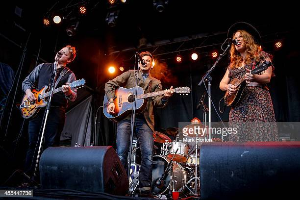 Brian Elmquist Zach Williams and Kanene Donehey Pipkin of The Lone Bellows performs on Day 4 of the Ottawa Folk Festival on September 13 2014 in...