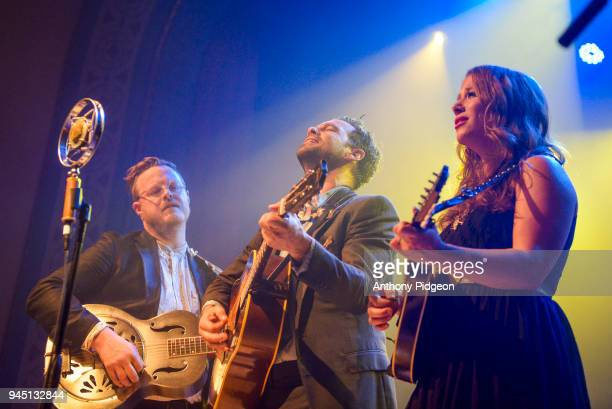 Brian Elmquist Zach Williams and Kanene Pipkin of The Lone Bellow performs on stage at the Aladdin Theater in Portland Oregon United States on 8th...