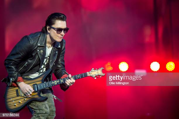Brian Elwin Haner Jr aka Synyster Gates of Avenged Sevenfold performs onstage during the bands main stage headline show at the end of Day 1 of...