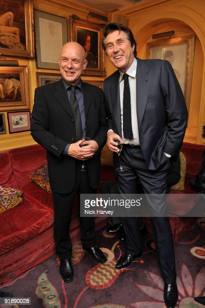 S SALES Brian Eno and Bryan Ferry attend a private dinner for Brioni hosted by Bryan Ferry at Annabel's on October 14 2009 in London England