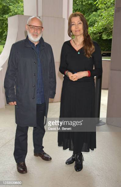 """Brian Eno and Elif Shafak attend """"Brian Eno: In A Garden"""", featuring his sound commission """"Back To Earth"""" in the 2021 Serpentine Pavilion at The..."""
