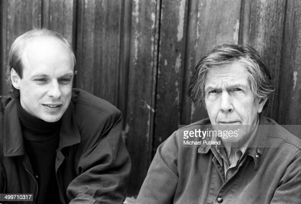 Brian Eno and John Cage portrait London May 1985