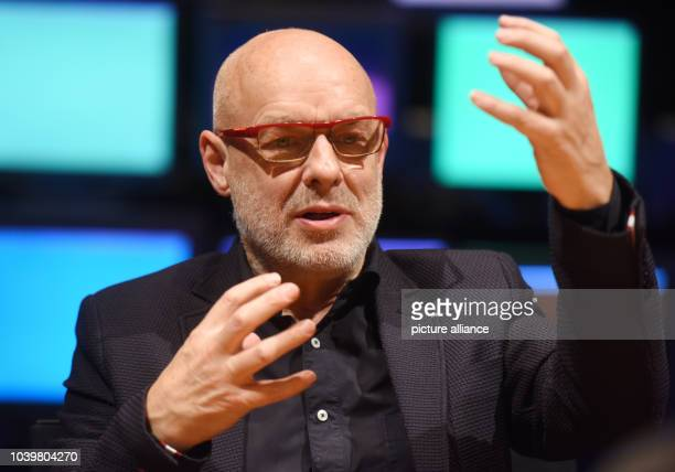 Brian Eno, British musician, producer, and multimedia artist, during an interview at the Center for Art and Media in Karlsruhe,Germany, 29 November...