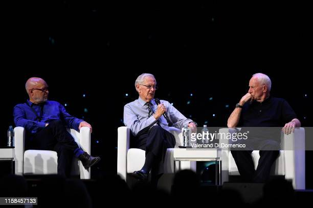Brian Eno Charlie Duke and Alfred Worden attends Starmus V A Giant Leap sponsored by Kaspersky at Samsung Hall on June 26 2019 in Zurich Switzerland