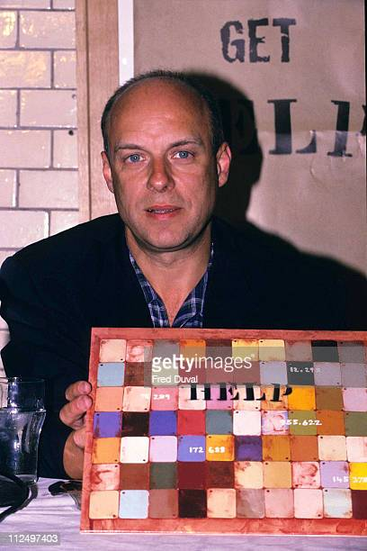 Brian Eno during Brian Eno the executive producer of the Help album promotes the War Child charity album at London Studio in London United Kingdom