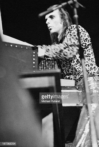 Brian Eno of English rock band Roxy Music on stage at the Empire Pool Wembley London 30th June 1972