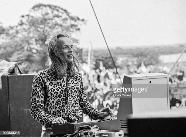Brian Eno of Roxy Music playing an analogue synthesiser performing at The Great Western Express Festival at Bardney near Lincoln on 27th May 1972 It...