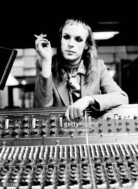 Brian Eno relaxes with a cigarette at Air Studios London in 1973