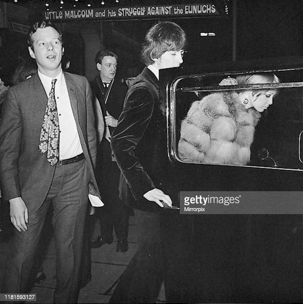 Brian Epstein, George Harrison and Pattie Harrison leave the Garrick Theatre, London, after seeing the play 'Little Malcolm And His Struggle Against...