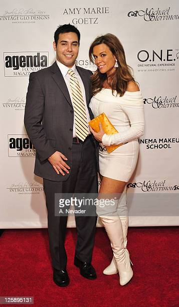 Brian Espinosa and actress Chase Masterson attend the Amy Marie Goetz Runway Show Benefiting Agenda Foundation at Agenda Loft on February 3 2011 in...
