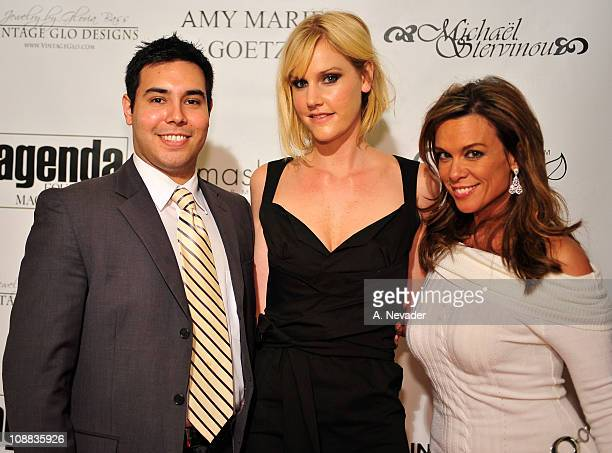 Brian Espinosa designer Amy Marie Goetz and actress Chase Masterson attend the Amy Marie Goetz Runway Show Benefiting Agenda Foundation at Agenda...