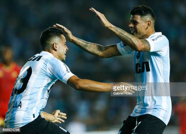 Brian Ezequiel Mansilla of Racing Club celebrates after scoring the first goal of his team during a first leg match between Racing and Rionegro...