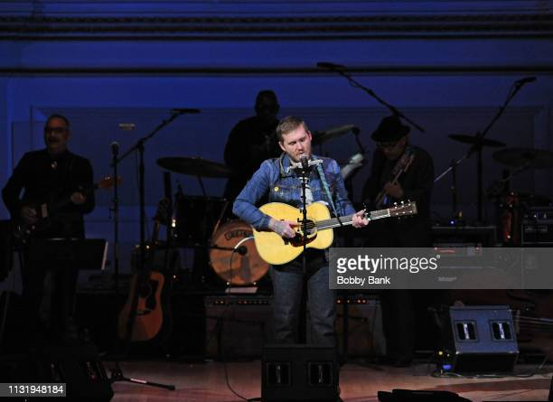 Brian Fallon of Gaslight Anthem performs at the Michael Dorf Presents The Music Of Van Morrison at Carnegie Hall on March 21 2019 in New York City