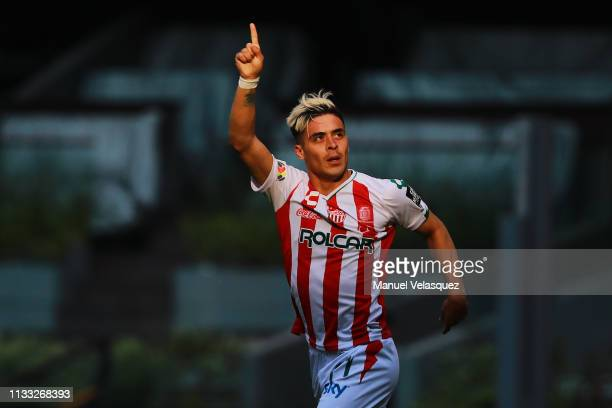 Brian Fernandez of Necaxa celebrates after scoring the first goal of his team during the 9th round match between Cruz Azul and Necaxa as part of the...