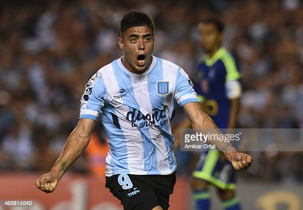Brian Fernandez of Racing Club celebrates after scoring his team's first goal during a match between Racing Club and Sporting Cristal as part of Copa...