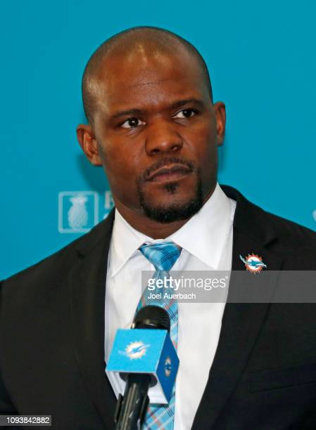 Brian Flores answers questions from the media after being introduced as the new head coach of the Miami Dolphins on February 4 2019 at the Miami...