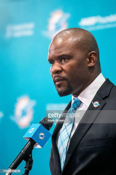 Brian Flores speaks during a press conference as he is introduced as the new Head Coach of the Miami Dolphins at Baptist Health Training Facility at...