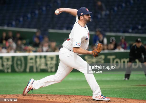 Brian Flynn of team USA Pitching during the WBSC Premier 12 Super Round game between USA and Chinese Taipei at the Tokyo Dome on November 15 2019 in...