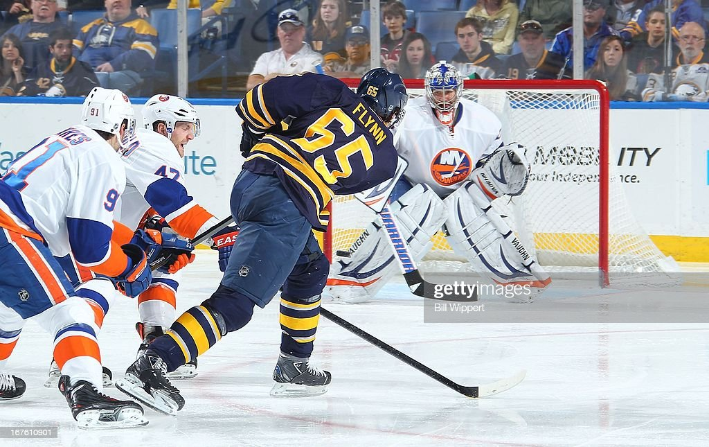 Brian Flynn #65 of the Buffalo Sabres fires a second-period shot for a goal against Evgeni Nabokov #20 of the New York Islanders on April 26, 2013 at the First Niagara Center in Buffalo, New York.