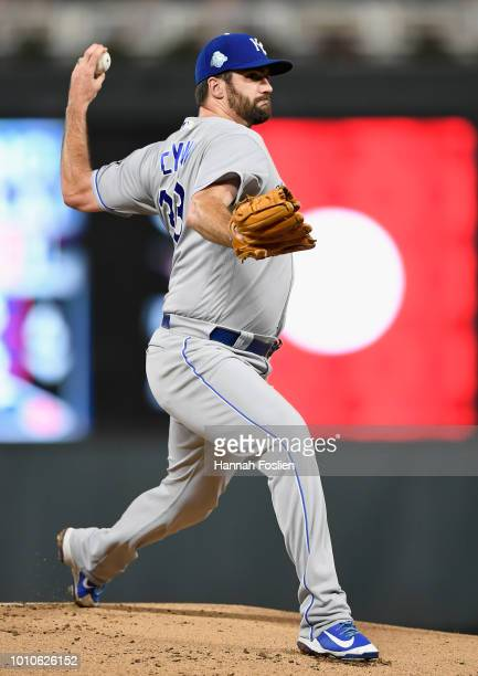Brian Flynn of the Kansas City Royals delivers a pitch against the Minnesota Twins during the fourth inning of the game on August 3 2018 at Target...