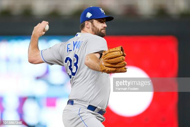 Brian Flynn of the Kansas City Royals delivers a pitch against the Minnesota Twins during the game on August 3 2018 at Target Field in Minneapolis...
