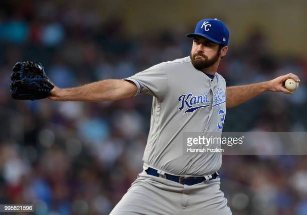 Brian Flynn of the Kansas City Royals delivers a pitch against the Minnesota Twins during the fourth inning of the game on July 10 2018 at Target...
