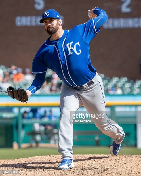 Brian Flynn of the Kansas City Royals pitches against the Detroit Tigers during a MLB game at Comerica Park on April 22 2018 in Detroit Michigan The...