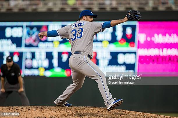 Brian Flynn of the Kansas City Royals pitches against the Minnesota Twins on August 13 2016 at Target Field in Minneapolis Minnesota The Twins...