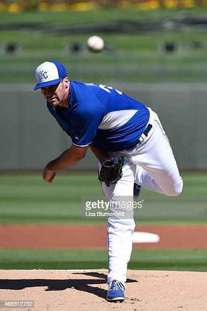 Brian Flynn of the Kansas City Royals pitches against the Texas Rangers at Surprise Stadium on March 5 2015 in Surprise Arizona