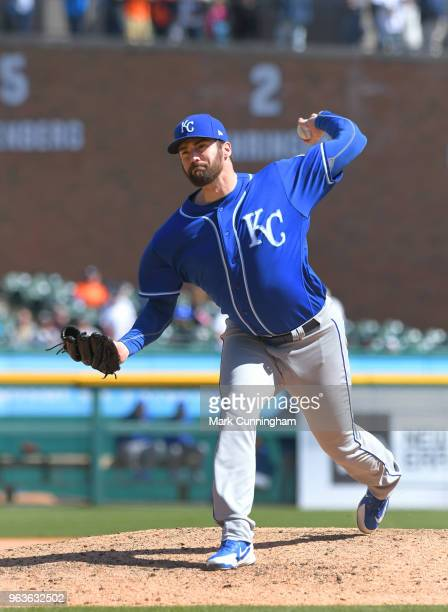 Brian Flynn of the Kansas City Royals pitches during the game against the Detroit Tigers at Comerica Park on April 22 2018 in Detroit Michigan The...