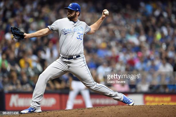 Brian Flynn of the Kansas City Royals throws a pitch during the sixth inning of a game against the Milwaukee Brewers at Miller Park on June 26 2018...