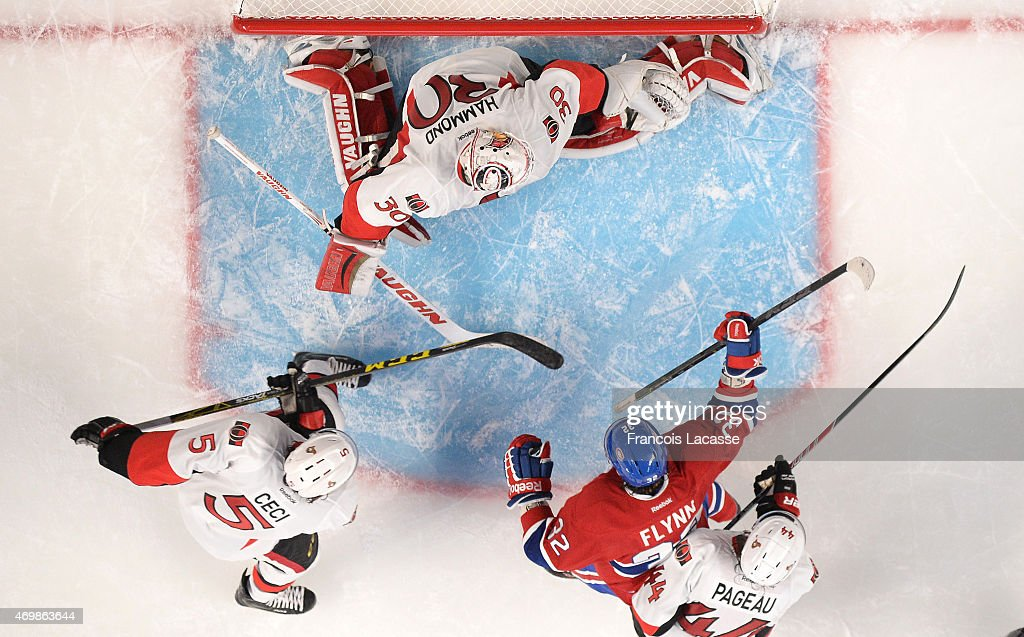 Brian Flynn #32 of the Montreal Canadiens celebrate after scoring a goal against Ottawa Senators in Game One of the Eastern Conference Quarterfinals during the 2015 NHL Stanley Cup Playoffs at the Bell Centre on April 15, 2015 in Montreal, Quebec, Canada.