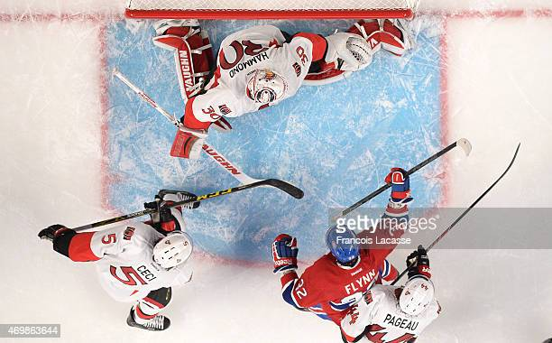 Brian Flynn of the Montreal Canadiens celebrate after scoring a goal against Ottawa Senators in Game One of the Eastern Conference Quarterfinals...