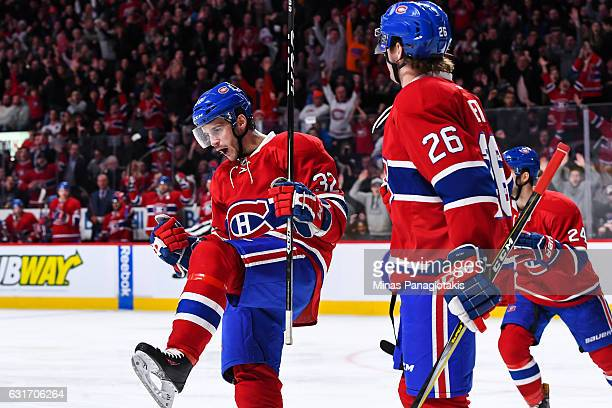 Brian Flynn of the Montreal Canadiens celebrates his second period goal during the NHL game against the New York Rangers at the Bell Centre on...
