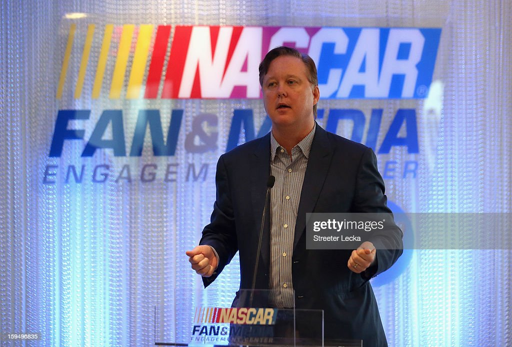 Brian France, NASCAR Chairman and CEO, speaks to the media during the NASCAR Fan and Media Engagement Center Unveiling at NASCAR Plaza on January 14, 2013 in Charlotte, North Carolina.