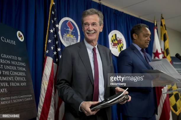 Brian Frosh Maryland attorney general left and Karl Racine District of Columbia attorney general arrive at a news conference in Washington DC US on...