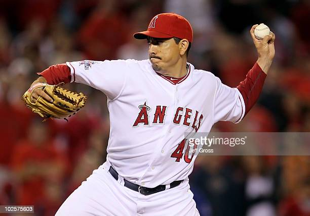 Brian Fuentes of the Los Angeles Angels of Anaheim pitches against the Texas Rangers in the ninth inning at Anaheim Stadium on July 1 2010 in Anaheim...