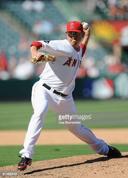 Brian Fuentes of the Los Angeles Angels of Anaheim pitches against the Oakland Athletics at Angel Stadium of Anaheim on September 27 2009 in Anaheim...