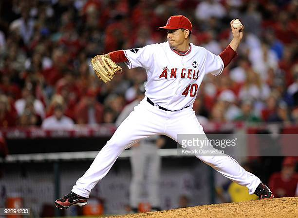 Brian Fuentes of the Los Angeles Angels of Anaheim pitches in the ninth inning against the New York Yankees in Game Five of the ALCS during the 2009...