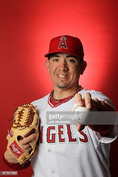 Brian Fuentes of the Los Angeles Angels of Anaheim poses during media photo day at Tempe Diablo Stadium on February 25 2010 in Tempe Arizona