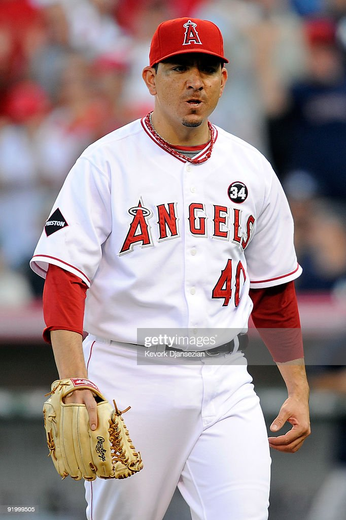 Brian Fuentes #40 of the Los Angeles Angels of Anaheim reacts during the ninth inning against the New York Yankees in Game Three of the ALCS during the 2009 MLB Playoffs at Angel Stadium on October 19, 2009 in Anaheim, California.