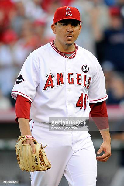 Brian Fuentes of the Los Angeles Angels of Anaheim reacts during the ninth inning against the New York Yankees in Game Three of the ALCS during the...