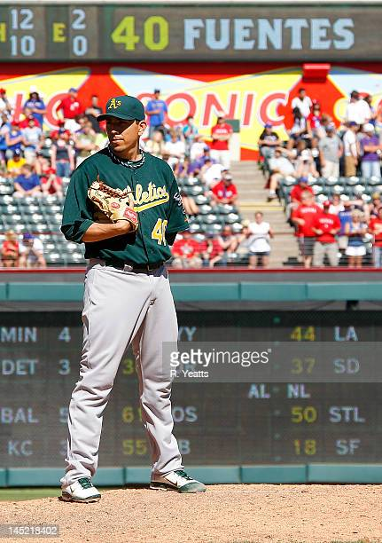 Brian Fuentes of the Oakland Athletics delivers a pitch against the Texas Rangers at Rangers Ballpark in Arlington on May 17 2012 in Arlington Texas