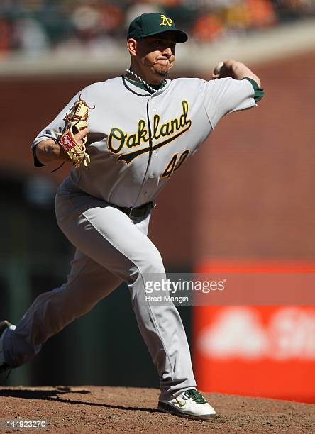 Brian Fuentes of the Oakland Athletics pitches against the San Francisco Giants during the game at ATT Park on Sunday May 20 2012 in San Francisco...