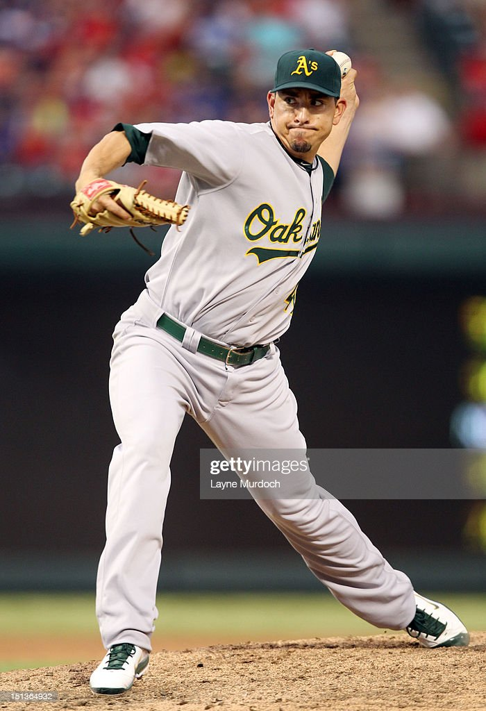 Brian Fuentes #40 of the Oakland Athletics pitches against the Texas Rangers on June 30, 2012 at the Rangers Ballpark in Arlington in Arlington, Texas.
